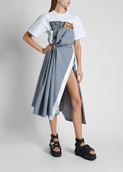 Drape Suiting Strapless Dress