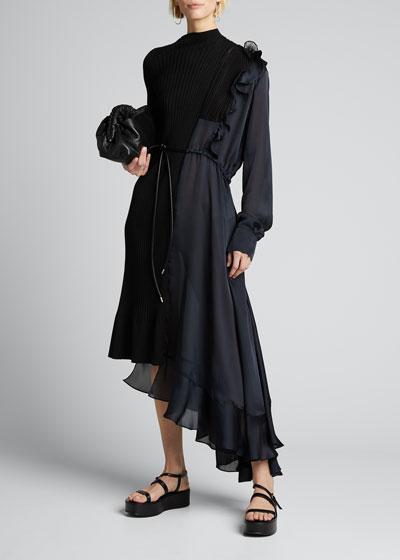 Knit Chiffon Combo Midi Dress
