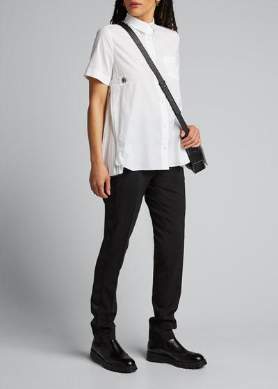 Poplin Pleated-Side Shirt