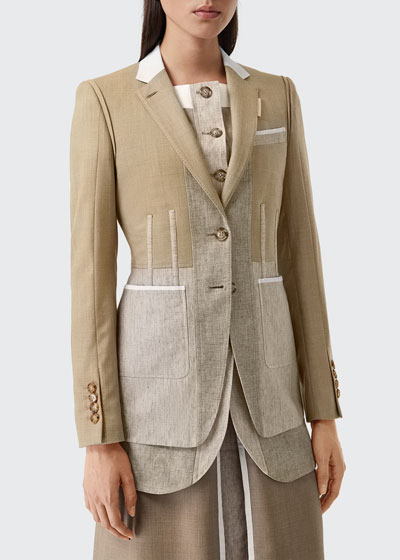 Colorblocked Wool-Cashmere Tailored Blazer