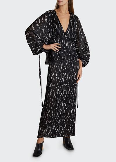 Floral Print Pleated Raglan-Sleeve Dress