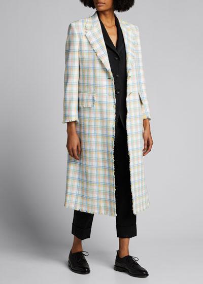Tattersal Tweed Long Blazer Jacket