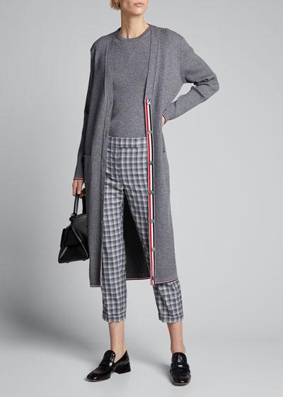 Long Rib V-Neck Wool Cardigan