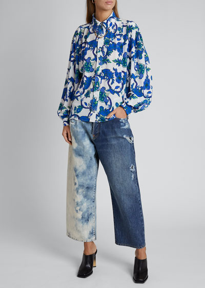 Floral-Print Button-Front Chained Blouse