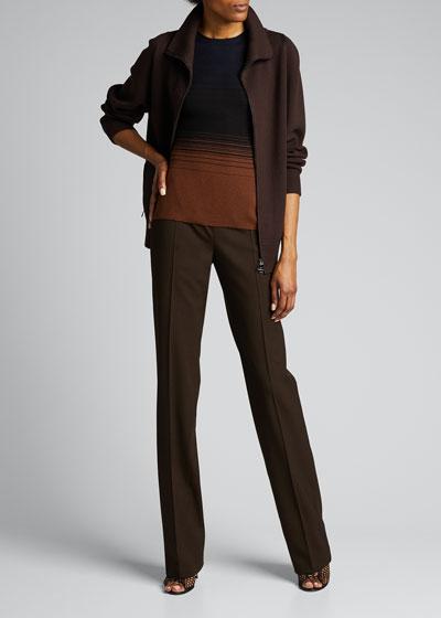 Wool-Silk Zip-Front Cardigan