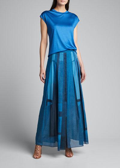 Pleated Window-Print Skirt