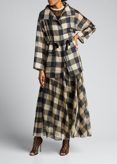 Checked Silk Zip-Front Jacket