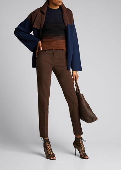 Gradient Striped Short-Sleeve Sweater