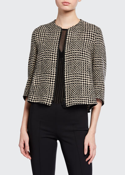 Cashmere Checked Crop Jacket