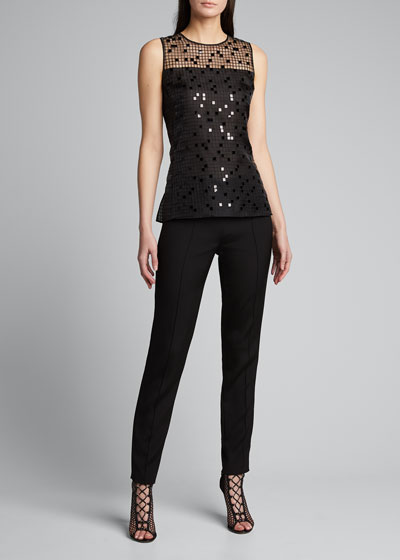 Sequin Embroidered Mesh Sleeveless Blouse