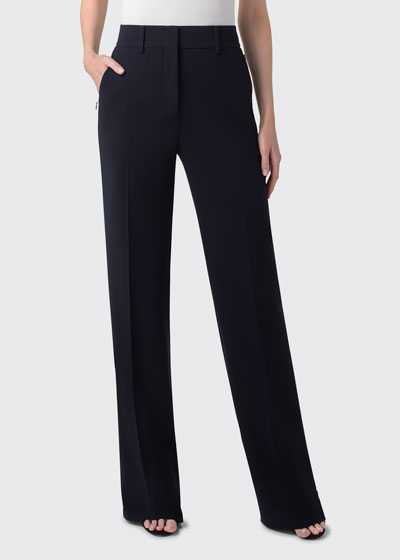 Flore Full-Leg Stretch-Wool Pants