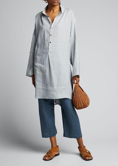 Linen Sloped-Shoulder Shirt