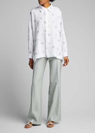 Embroidered Linen Long-Back Shirt