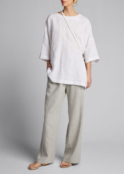 Embroidered Linen Long-Back T-Shirt