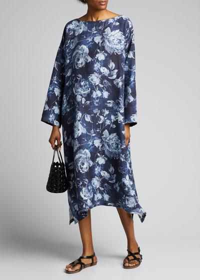 Floral Print Linen Wide A-Line Dress