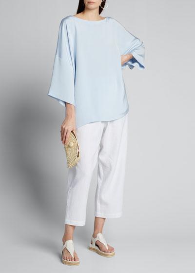Silk 3/4-Sleeve Bateau-Neck Tunic