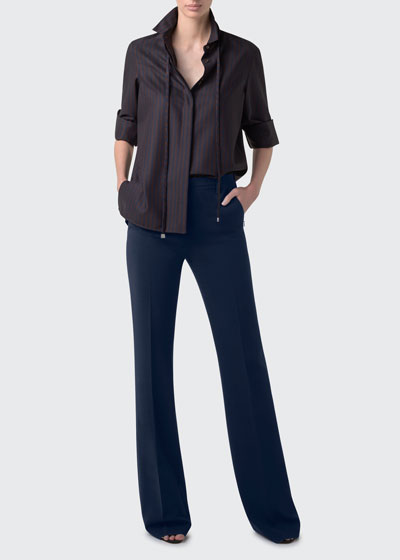 Pinstriped Button-Front Wool Blouse