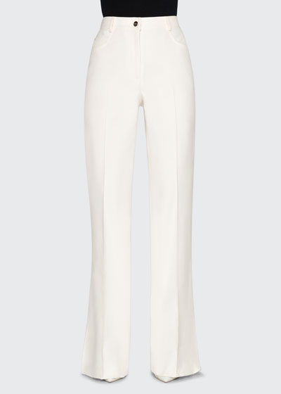 Cotton/Silk Stretch Boot-Cut Pants