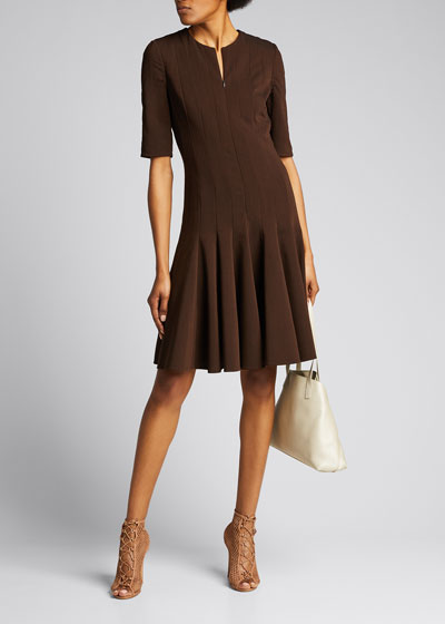 Pleated-Crepe 1/2-Sleeve Dress, Mahogany