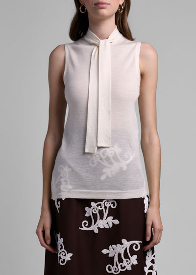 Cashmere Tie-Neck Sleeveless Top