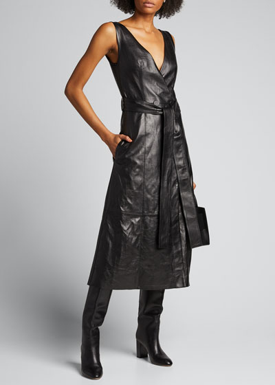 Awel Leather Tie-Neck Belted Dress