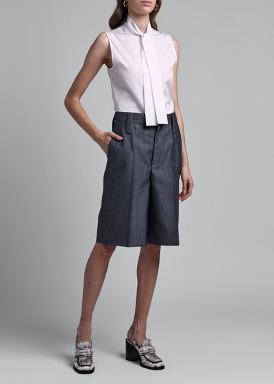 Neck-Tie Sleeveless Button-Front Shirt