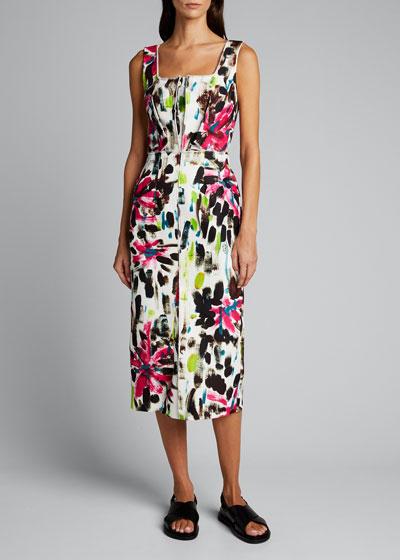Floral Print Raw-Trim Dress