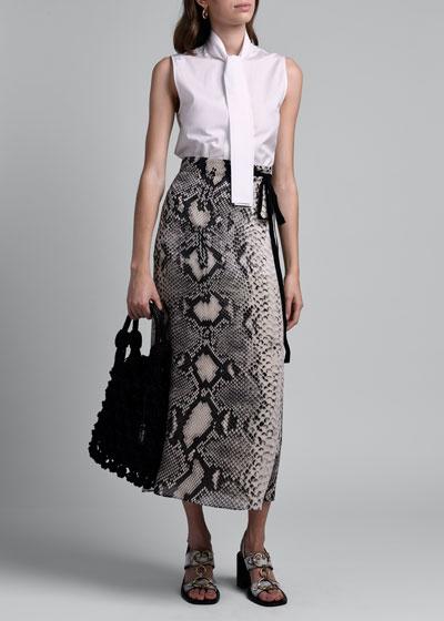 Snake Print Crepe Midi Wrap Skirt