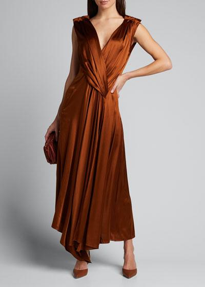Aria Gathered V-Neck Dress