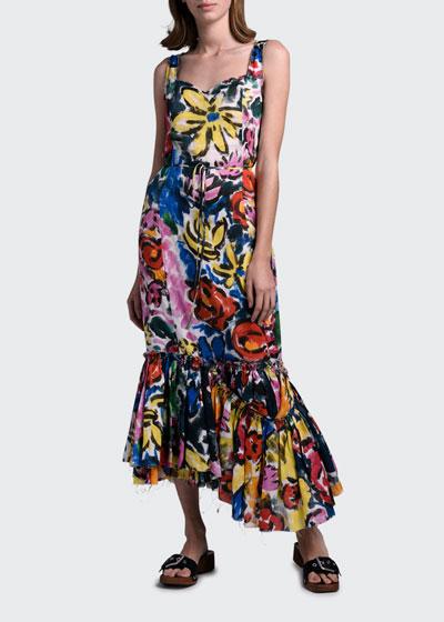 Floral Print Asymmetric Hem Dress