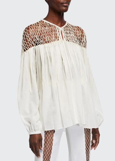 Aglaia Long-Sleeve Blouse with Silk Macrame