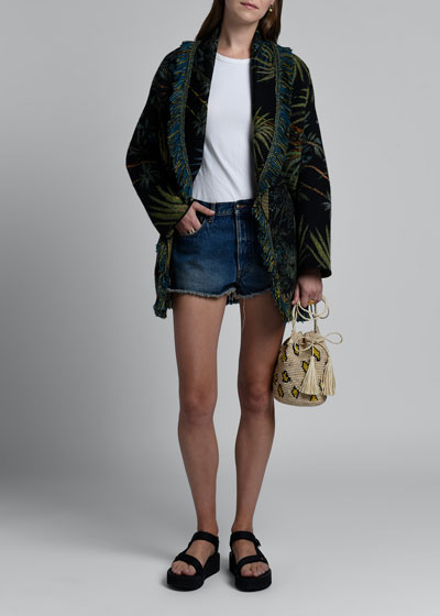 Palm Jacquard Wool-Silk Cardigan