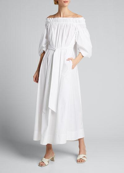 Galatea Pleated Off-the-Shoulder Dress