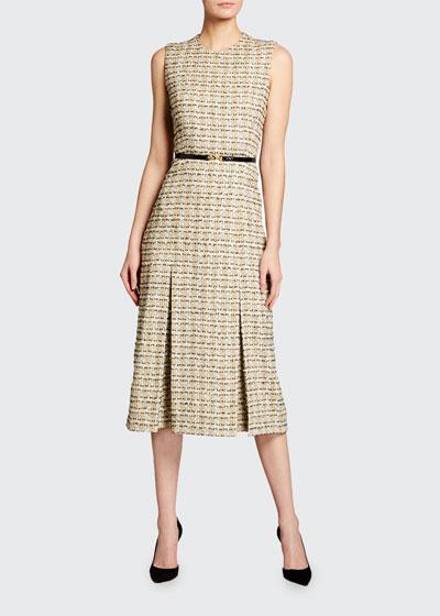 Pleated Cotton Midi Dress