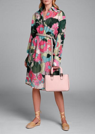 Long-Sleeve Large Floral-Print Silk Jacquard Dress