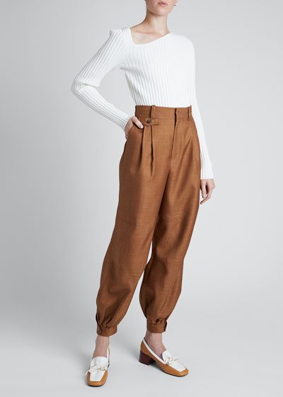 High-rise Wool Twill Balloon Trousers