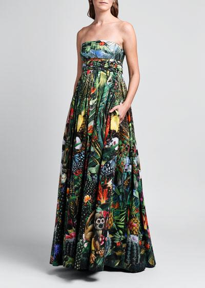 Strapless Cotton Poplin Gown