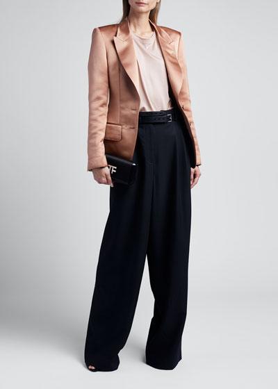 2-Button Jacket In Double Silk Duchesse