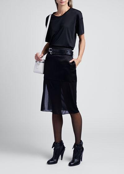 Rolled-Sleeve Clean Viscose-Silk T-Shirt