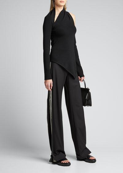 Wool Logo-Striped Trousers