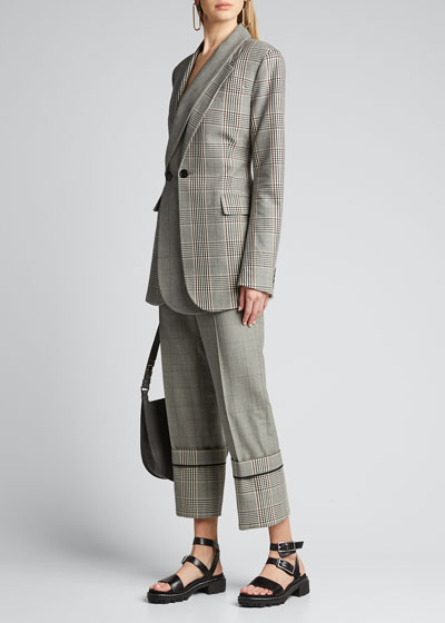 Plaid Oversized-Cuffed Trousers