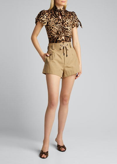 Short-Sleeve Tie-Front Leopard Charmeuse Top