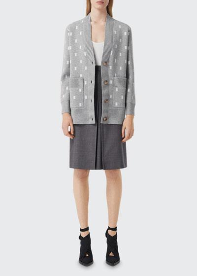Palena Monogram Jacquard Wool-Cashmere Cardigan Sweater