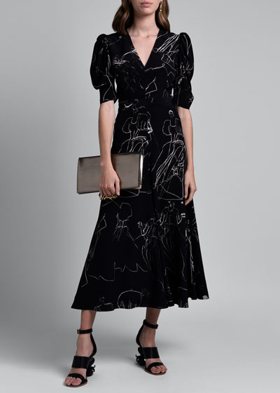 Dancing Girl Print Puff-Sleeve A-Line Dress