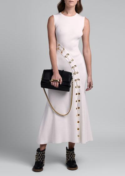 Grommet Lacing Midi Dress