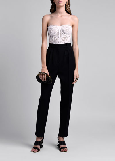 Wool Silk Peg Leg High-Waist Trousers