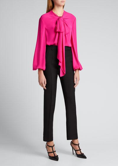 Silk Puff-Sleeve Tie-Neck Blouse