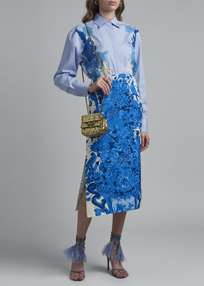 Floral Lace Embroidered Pinstriped Poplin Shirt