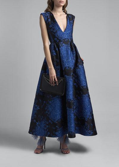 Floral Matelasse Midi Dress