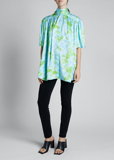 Floral Silk Jacquard Short-Sleeve Turtleneck Blouse
